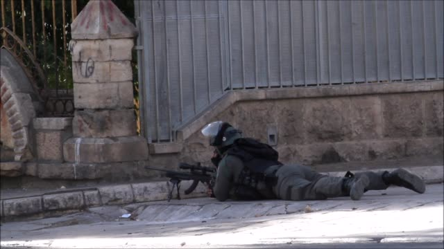 Encounters happened between young Palestinians and The Israeli forces at Bethlehem next to Belal Mosque at the 12th of February 2016 / These...