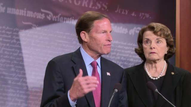 End of press conference Senator Dianne Feinstein introduces legislation to ban / limit bumpstocks following the mass shooting in Las Vegas Senator...