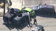 KTLA End Of Pursuit In South Los Angeles on April 10 2015 Grand theft auto suspect involved a bright green Toyota Prius taxicab The taxi sped up as...