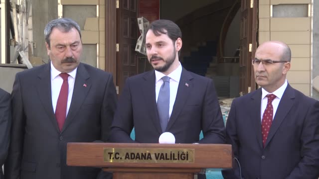 Energy Minister of Turkey Berat Albayrak speaks during a press conference after terror attack in southern Turkey's Adana province on November 24 2016...