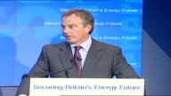 Underwater gas pipeline from Norway officially opened / Tony Blair and Jens Stoltenberg speech/ceremony Blair Stoltenberg and Reiten stand applauding...