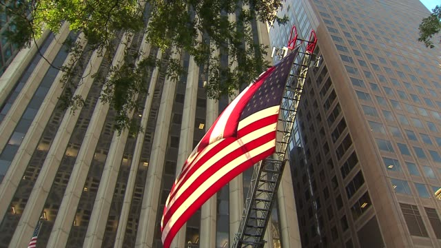 Engine 98 in Chicago holds memorial service for 9/11 victims American Flag At 9/11 Memorial Ceremony on September 11 2013 in Chicago Illinois
