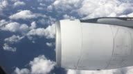 Engine of aircraft with Cloud and Sky