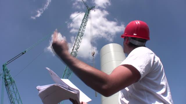 Engineer building wind turbine