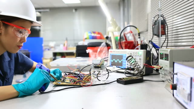 Engineer working at electronics industry
