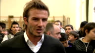 David Beckham arrival and interview INT David Beckham interview SOT Great been here a few hours went to visit FIFA where President Blatter is Sat...