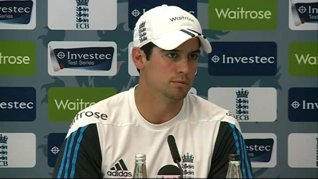 Alastair Cook press conference ENGLAND London INT Alastair Cook press conference SOT Didn't see the incident / all the lads will rally around Jimmy /...