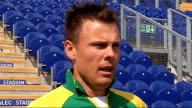 England and South Africa cricketers prepare for One Day International in Cardiff South African cricketers on pitch Johan Botha interview SOT Talks...