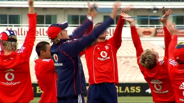 England cricket team tarining More of England cricketers conducting fitness training on field / England cricketers playing touch rugby