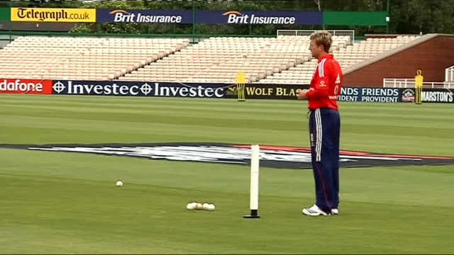 England cricket team tarining Pietersen Anderson and Collingwood practising bowling on field