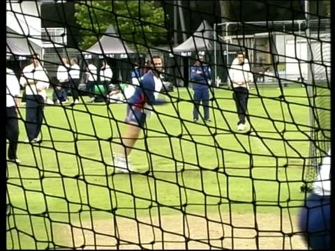 England cricketer Alec Stewart England players in the nets England batsman Mark Butcher