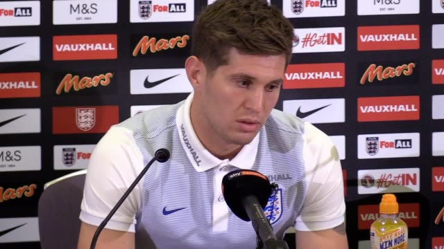 England defender John Stones gives a press conference ahead of the team's World Cup qualifiers against Slovenia and Lithuania