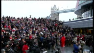 England loses 2018 World Cup bid ENGLAND London EXT Crowd of football supporters backing England World Cup 2018 bid gathered near Tower Bridge