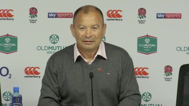 England manager Eddie Jones explains his reactions filmed during the match and talks about next week's game against Australia