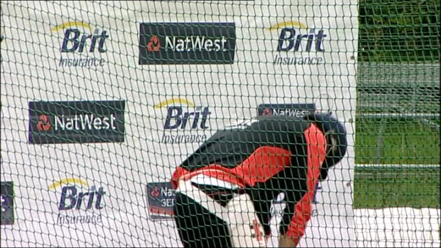 England net practice ahead of oneday match against India England cricket training session continued players in nets including close shots of Stuar...