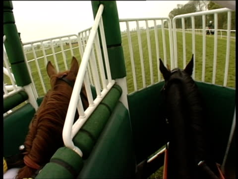 POV, England, Newbury, Jockey in horseracing stall