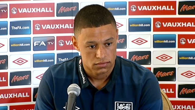 England pre World Cup 2014 qualifying campaign press conference GVs arrival of OxladeChamberlain Alex OxladeChamberlain press conference SOT the...