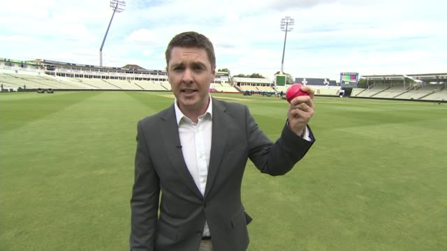 England prepare for first daynight Test match against the West Indies ENGLAND Birmingham Edgbaston Cricket Ground Reporter to camera Close shot of...