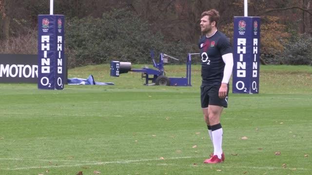 England prepare for game v ArgentinaEngland squad training ENGLAND Surrey Pennyhill Park EXT Various of England rugby union squad training