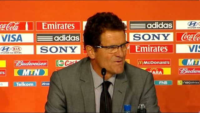 England qualify for knockout stages Fabio Capello press conference SOUTH AFRICA Port Elizabeth INT Fabio Capello press conference SOT On winning the...