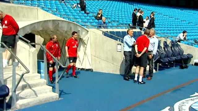 England squad in training GVs players walking onto pitch / GVs James Milner / GVs Alex OxladeChamberlain / GVs Joleon Lescott shaking hands with...
