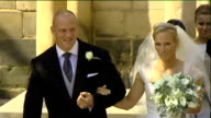 England team criticised for evening drinking session 3072011 SCOTLAND Edinburgh Canongate Kirk EXT Zara Phillips and Mike Tindall out of church at...