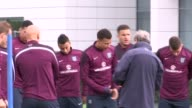 London Enfield EXT Roy Hodgson along / England football team in purple including Wayne Rooney and Harry Kane / Wide shot entire team lined up for...