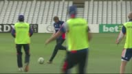 Nottinghamshire West Bridgford EXT England cricket team team talk and playing football before training session includes captain Alastair Cook /...