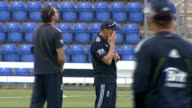 Cardiff SWALEC Stadium EXT Various of England cricketers on pitch practicing fielding into nets including Stuart Broad and Luke Wright / Andy Flower...