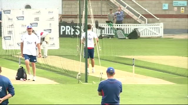 London The Oval EXT England cricket team training in batting nets / Oval ground