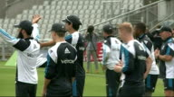 England train ahead of 4th test against India ENGLAND Manchester Old Trafford Cricket Ground EXT Various of England cricket team training on pitch...
