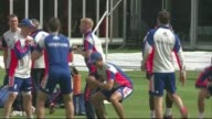 England train ahead of second Ashes test match ENGLAND London Lord's cricket ground EXT England cricket team having team talk wearing Waitrose...