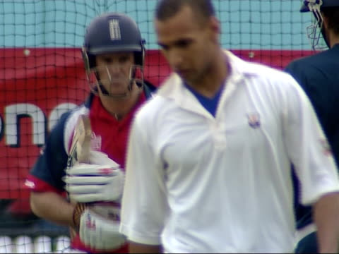 England training ahead of test series against West Indies Andrew Strauss batting / Various of unidentified player batting