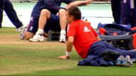 England training and interview England cricketers on pitch including Andrew Flintoff James Anderson Graeme Swann England players stretching including...