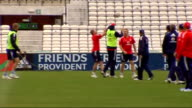 England training and interview England players on pitch playing rugby including Flintoff Harmison Pietersen Ian Bell Anderson View of Oval pavilion