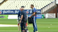 Midlands Birminigham Edgbaston EXT Edgbaston sign / England cricket players along at training session / players practicising batting / cricket ground...
