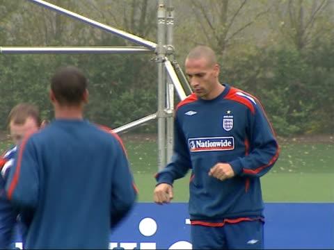 England training session Phil Nevile training with Jermaine Defoe Alan Smith and Shaun WrightPhillips / General views England footballers kicking...