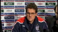 Fabio Capello press conference ENGLAND Colney INT Fabio Capello press conference SOT discusses forthcoming friendly match against Slovakia/ Ledley...