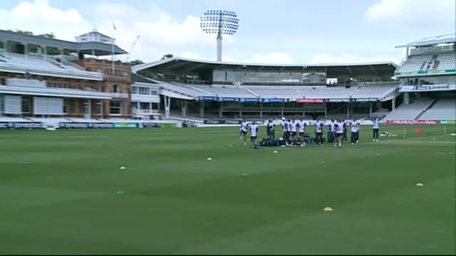 England preparations ENGLAND London Lords Cricket Ground EXT England players onto field / Coach talking to players / Players training / Net practice