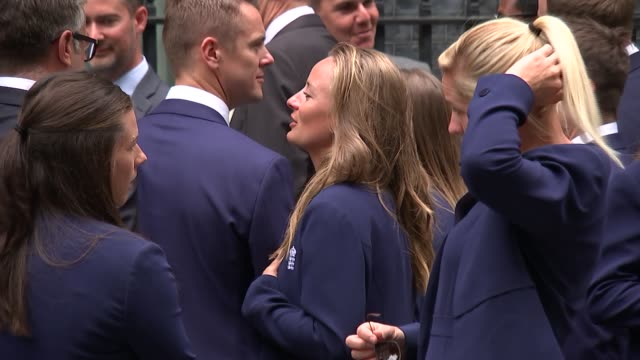 England women's cricket team and England women's rugby team arrive at Number 10 ENGLAND London Whitehall Downing Street EXT England women's cricket...