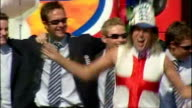 England's Ashes winning players celebrate their victory with fans Shows exterior shots England players celebrating on stage shouting barmy army along...