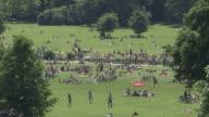 Englischer Garten,  lawn, trees,  blue sky, people, from above