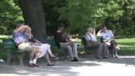 Englischer Garten, summer,  sunny, park,  people sitting on benches, people ride bike,  trees