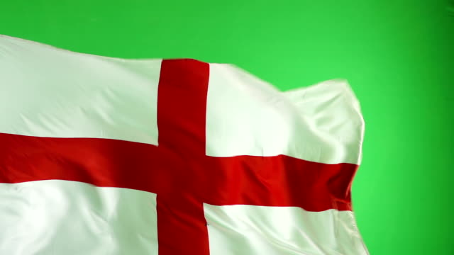 English England Flag on green screen, Super Slow Motion