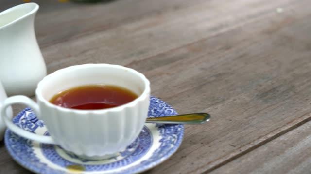 english tea on the wood table