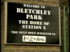 Enigma machine stolen from Bletchley Park ENGLAND Bletchley Park Sign 'Next open weekend 1st/2nd April' PULL OUT to Bletchley Park sign LMS Bletchley...
