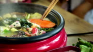 enjoy eating Shabu Shabu and Sukiyaki in hot pot at japanese restaurant