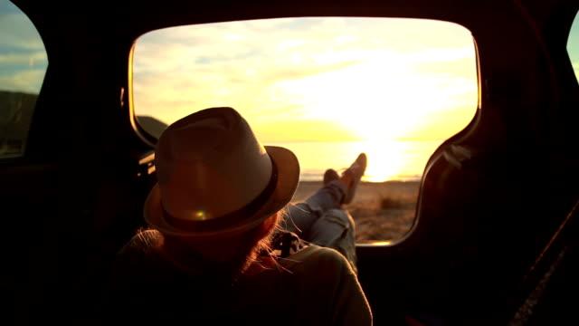 Enjoying in sunset in my car