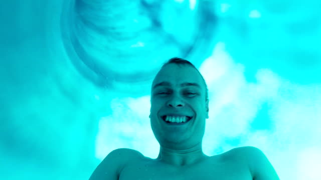 Enjoyment on the water slide