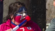 Enthusiastic supporters celebrate their teams Chile and Argentina ahead of the Copa America final